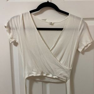 Garage Small White Crop V-Neck Tee with Bow Tie